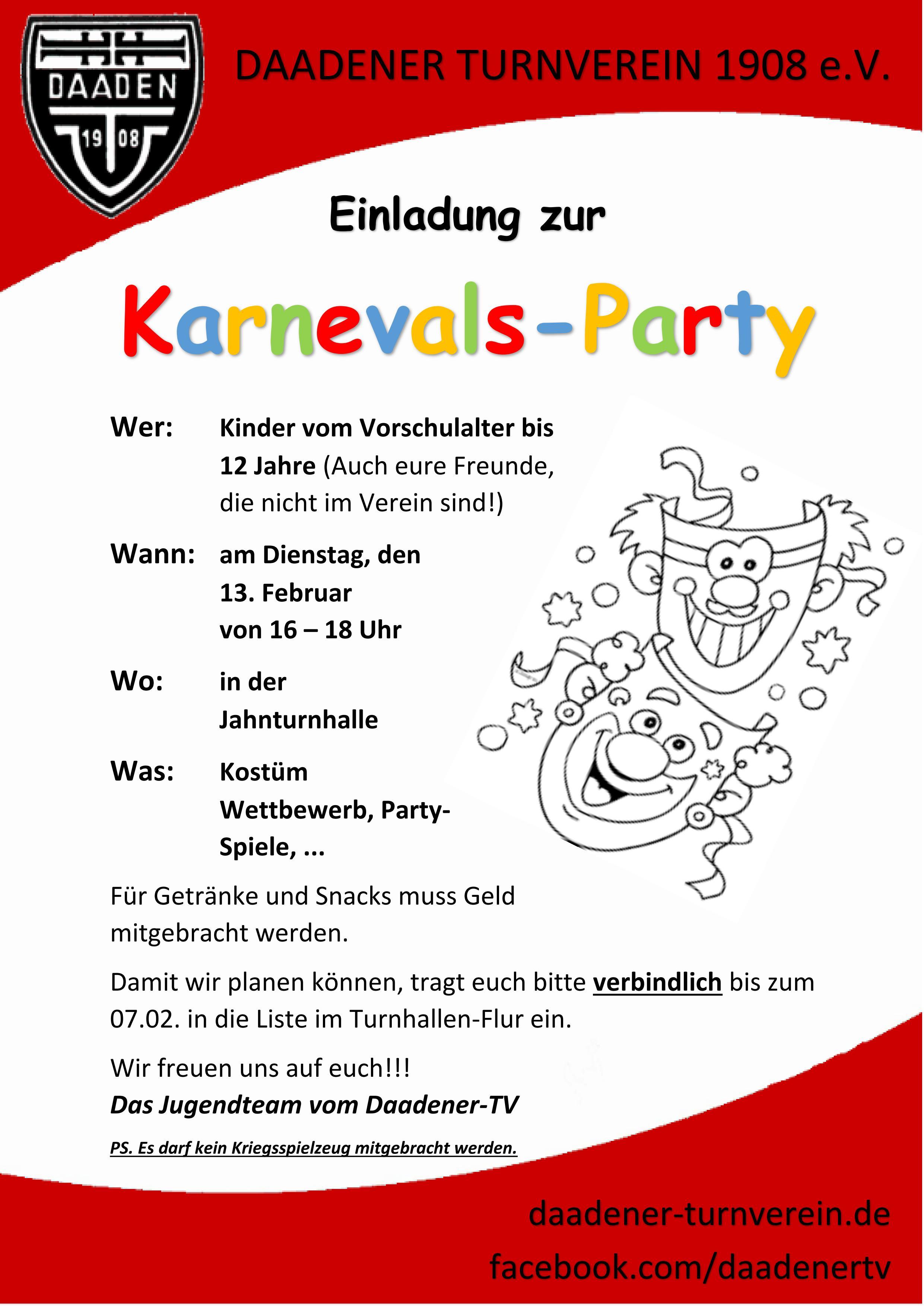 Kinder-Karnevals-Party 2018 – Daadener Turnverein 1908 e.V.
